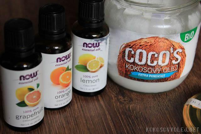 kokosovy olej esencialne oleje grapefruit orange a lemon