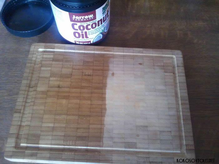 kokosový olej na dosky na krájanie a varešky