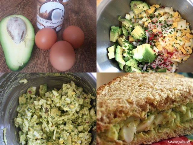 avokádovy šalát s vareným vajíčkom a kokosovým olejom