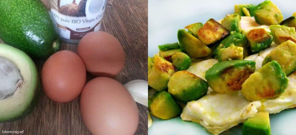 vyprážané vajcia s avokádom ako zdravé raňajky